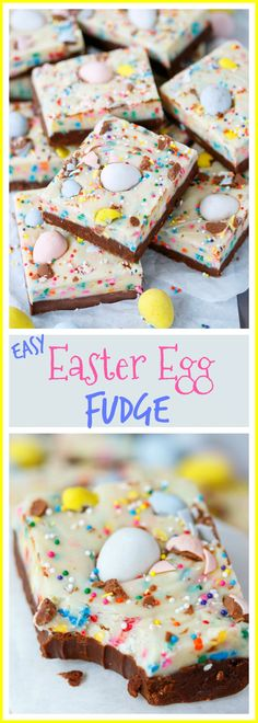 Easy Easter Fudge Two luscious layers of chocolate fudge mixed with sprinkles and topped with Cadbury egg minis. Easy to customize and fun to make! Mini Egg Recipes, Fudge Recipes, Easter Recipes, Candy Recipes, Holiday Recipes, Dessert Recipes, Cadbury Recipes, Dessert Bars, Brunch Recipes