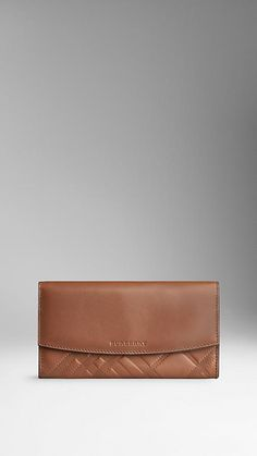 Tan Embossed Check Leather Continental Wallet - Image 1