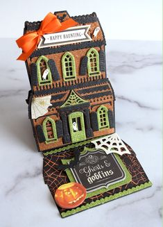 Anna Griffin Haunted House Easel Card Die Set Halloween Christmas New Home Card Halloween Sewing, Halloween Christmas, Halloween Cards, Halloween Images, Christmas Things, Halloween House, Halloween Ideas, Christmas Cards, Anna Griffin Inc
