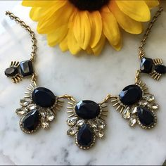 J. Crew // Crystal Fanfare Statement Necklace Make a statement in this beautiful necklace from J. Crew Factory. Navy gems are sounded by little crystals and gold eyelash details. Never been worn. J. Crew Jewelry Necklaces