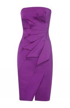 Karen Millen Strapless Satin Pencil Dress Purple