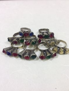 Ring Afghanistan Red Blue Silver Glass 3 Prong Handmade Handcrafted Red Blue Green Silver Statement Fun Unique Tribal Rings Tribal
