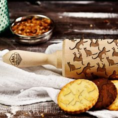 Cats  laser engraved rolling pin embossing rolling by RollingWoods