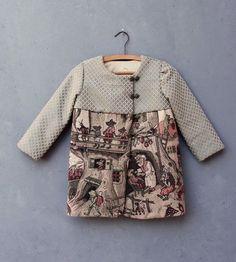 Fairy Tale Jacket Child Coat size T6 Vintage Gobelin Tapestry Fabric Clothing