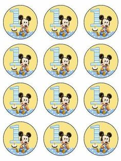12 1st Birthday Mickey Edible Icing Cupcake Cup Cake Decoration Image Topper | eBay