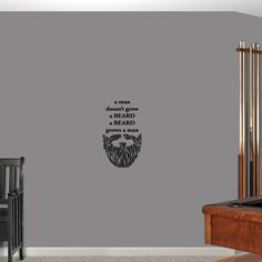 Sweetums A Man Doesn't Grow a Beard Wall Decal 14-inch wide x 24-inch tall