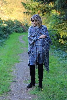 Get this look: http://lb.nu/look/7802482  More looks by Anne Dofelmier: http://lb.nu/thedailyfashionmuse  Items in this look:  #Fraas Blanket Wrap, Nine West Over The Knee Boots