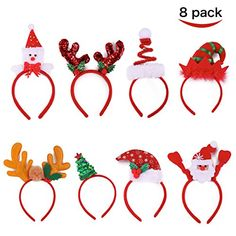 Joyin Toy Pack of 8 Christmas Headbands with Different De...