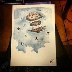 Look at this beautiful #airship #illustration by @natieness! It looks like a #watercolor #drawing to me though Natie doesn't say. The style is great too. It looks like a page straight out of #TheLittlePrince! Very cool Natie!