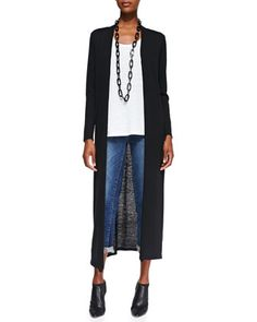 Washable Wool Crepe Extra Long Cardigan, Slub Organic Linen Jersey Long Tank & Stretch Boyfriend Jeans  by Eileen Fisher at Neiman Marcus.