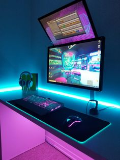 Best Gaming Chairs 2019 Amazing One! Rate this setup Best Gaming Setup, Gaming Room Setup, Pc Setup, Office Setup, Gamer Setup, Boys Game Room, Small Game Rooms, Computer Gaming Room, Gaming Rooms
