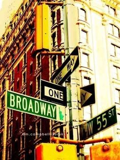 "New York City photograph - ""Broadway & 55th streets"".  urban street sign - the big apple - east coast travel - musicals theatre - 8x10. $30.00, via Etsy."