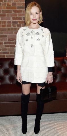 At the Still Alice screening after-party, Kate Bosworth glammed it up in a white crystal-embellished collarless J. Mendel coat layered over a LBD, styling the two with H.Stern jewelry, a black Christopher Kane purse, and thigh-high Stuart Weitzman boots. Stuart Weitzman, Kate Bosworth Style, Cooler Look, Star Wars, Trends, Cool Boots, Star Fashion, Her Style, Autumn Winter Fashion