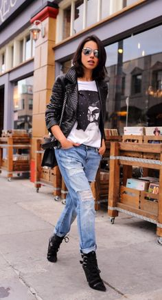 17 Fashionable Spring Outfit Ideas for 2016: #4. Leather Jacket with  Ripped Jeans