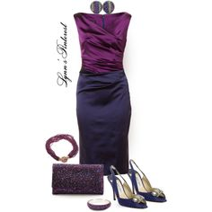 Blue & Purple Outfit - #2969 by lynnspinterest on Polyvore featuring moda, Jimmy Choo and Judith Leiber