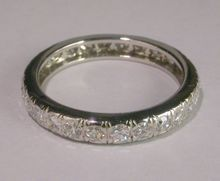 Estate diamond wedding / eternity platinum band size 6 1/4