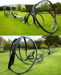 metal. ribbon. sculpture. bench.