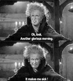 """Oh look, another glorious morning. It makes me sick!"" Hocus Pocus"
