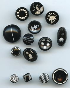 SOLD: Black with white black glass buttons enameled painted antique vintage buttons