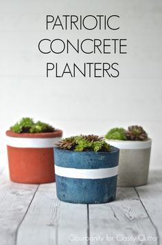 CLASSY CLUTTER :: DIY Projects: Patriotic Concrete Planters x Plutonium™ Paint | #SprayPaint #MadeInTheUSA
