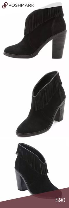 "Joie Loren Black Fringe Booties Ankle Boots Joie Suede Fringed Booties  	•	Size 35 (5 - 5.5) 	•	Brand new in box Description: High heel bootie  	•	Suede upper  	•	Fringe trim at asymmetrical topline  	•	Stacked heel  	•	Leather insole  Measurements: Heel height 3¾"", platform sole ½"", shaft height 4"", calf circumference 11"" Material: Suede and leather Brand: Joie Joie Shoes Ankle Boots & Booties"
