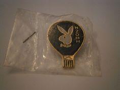 Vintage Playboy Bunny Emblem Black Hot Air Balloon N20HH Lapel Pin