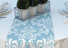 Village Blue Damask Table Runners for by ThePreppyOwlBoutique, $11.95