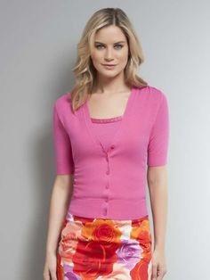 Main Image for Shirred Short Sleeve Cardigan – Darling pink