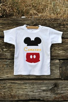 Mickey Mouse Split Name Shirt for Boys. by HootnHollarClothing