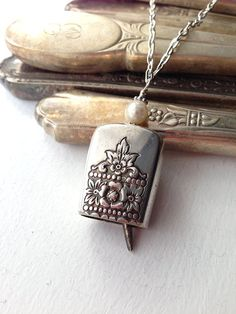 Antique butter knife bell pendant necklace with pearl upcycled repurposed silverwear jewelry
