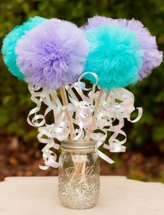 Under the Sea Mermaid Party Princess Pom Pom Wands Centerpiece Table Decoration