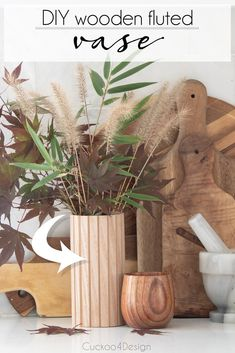 DIY wooden fluted planter sleeve and fluted vase   DIY planter   wooden planter   wooden vase   fluted DIY   planter DIY   how to make your own wooden modern planter   affordable fluted molding hack