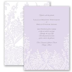 Traditional and elegant, this printed lace wedding invitation will wow your guests! The front of the two-sided card displays your wedding details, with the reverse covered in an intricate printed lace pattern that highlights your names. Garden Lace Wedding Invitation in Soft Violet from Invitations by David's Bridal.