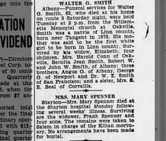 Obit for Walter G. Smith