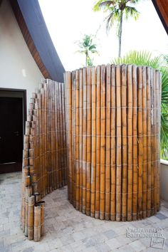 Bamboo Wall : as shower screen - Touch the Nature | by : baanlaesuan #outdoorshower