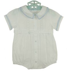 NEW Feltman Brothers White Pintucked Romper with Fagoting and Blue Trim $60.00 #FeltmanBrothersRomper