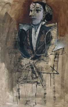 Pablo Picasso (1881-1973), Dora Maar Seated (1938), ink, gouache, and oil on paper on canvas, 62.5 x 68.9 cm. Via Tate. #pablo picasso#dora maar#portrait#female portrait#20th century#oil painting#cubism#cubist#seated figure#mixed media#ink#gouache
