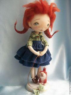 Купить Кукла интерьерная Я и Рыжик - рыжий, кукла в подарок, кукла текстильная…