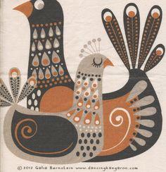 Dancing Kangaroo - The art of Galia Bernstein: Tote bag! Folk Art Flowers, Flower Art, Roy Lichtenstein Pop Art, Scandinavian Folk Art, Scandi Art, Handmade Stamps, Art Drawings Sketches Simple, Bird Art, Painting & Drawing