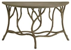 I love this faux bois console table from Currey and Co (2374 Hidcote Console Table)