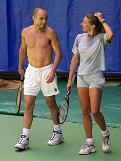 Andre Agassi & Steffi Graf could probably still win mixed doubles at Wimbledon. Tennis Gear, Tennis Tips, Steffi Graff, Monica Seles, Tennis Pictures, Sport Nutrition, Wimbledon Tennis, Tennis World, Professional Tennis Players