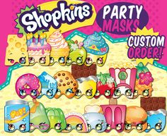 20 Vector Illustrated Shopkins Masks - Easy to print downloadable PDF - Each Mask fits on standard letter size card stock - Custom Characters