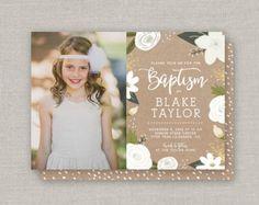 LDS Baptism Invitation Blake by announcingyou on Etsy Photo Invitations, Baptism Invitations, Baptism Announcement, Custom Cards, White Envelopes, Party Printables, Lds, Communion, Christening