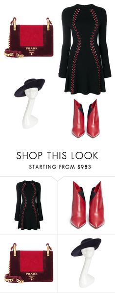 """Untitled #1"" by andreea-chiorpec ❤ liked on Polyvore featuring Alexander McQueen, Valentino, Prada and Philip Treacy"