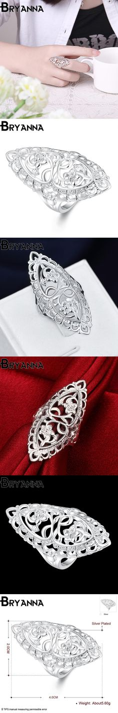 Bryanna New Silver plated flower rings for women fashion jewelry joyas de plata retro love party wedding CZ ring R40698