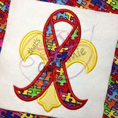 Awareness Ribbon Fleur De Lis Applique - 4 Sizes! | Cancer Awareness | Machine Embroidery Designs | SWAKembroidery.com Autism that's SEW Grammie