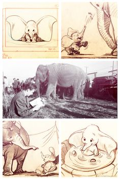 Bill Peet's storyboards for Dumbo. In the photo you can see young Bill sketching elephants at a circus, circa 1940 Disney Sketches, Disney Drawings, Cartoon Drawings, Animal Drawings, Cute Drawings, Elephant Illustration, Illustration Art, Illustrations, Disney Concept Art