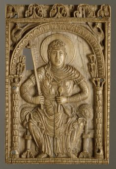 Plaque with the Virgin Mary as a Personification of the Church  Date: ca. 800–825 Geography: Made in Aachen, Germany Culture: Carolingian Medium: Ivory Dimensions: Overall: 8 11/16 x 5 11/16 x 5/16 in. (22 x 14.5 x 0.8 cm) Classification: Ivories Credit Line: Gift of J. Pierpont Morgan, 1917