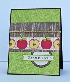 Thank You Card by Stephanie Klauck using Jillibean Soup's Apple Cheddar Collection, Soup Labels and Baker's Twine (via the Jillibean Soup blog).