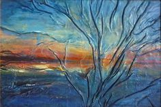 Sunset Lake Painting Tree art Abstract Landscape by AnnaKisArt